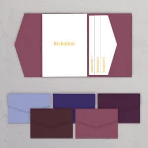 Pocketfold A5 med sidelomme lilla nuancer til bryllupsinvitationer og DIY