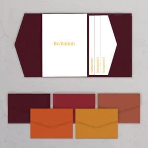 Pocketfold A5 med sidelomme røde og orange nuancer til bryllupsinvitationer og DIY