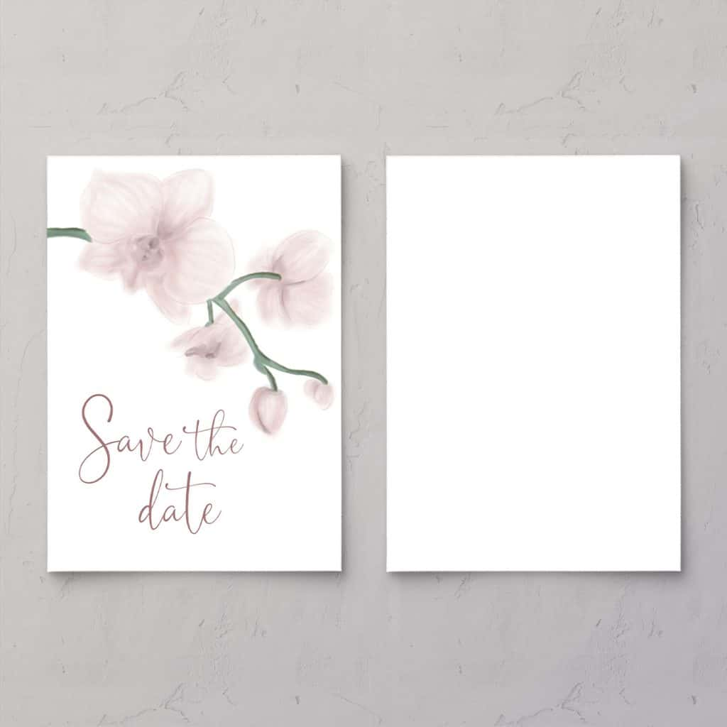 Save the date til bryllupsinvitationen Golden Orchid sart og feminin bryllupsinvitation med orkideer og guldfolie og vellum (kalkerpapir) forside.