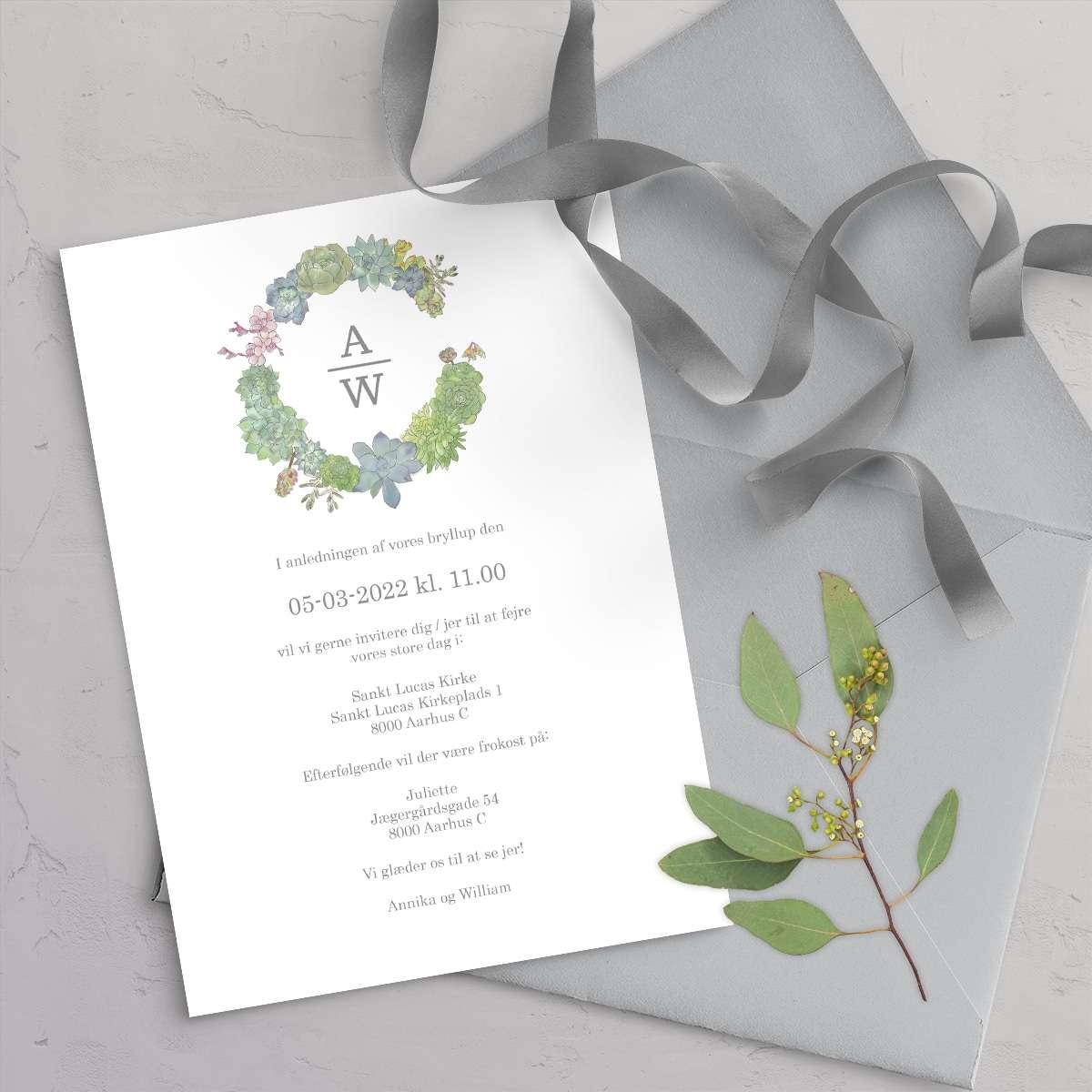 Bryllupsinvitation Succulents Wreath med satinbånd og grå C5 kuvert