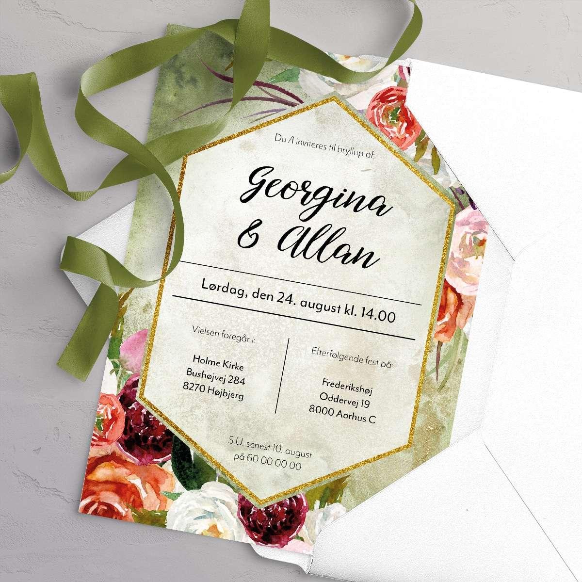 Bryllupsinvitationen Fleur Olive Trendfarve 2021 - Willow med satinbånd og hvid C5 kuvert