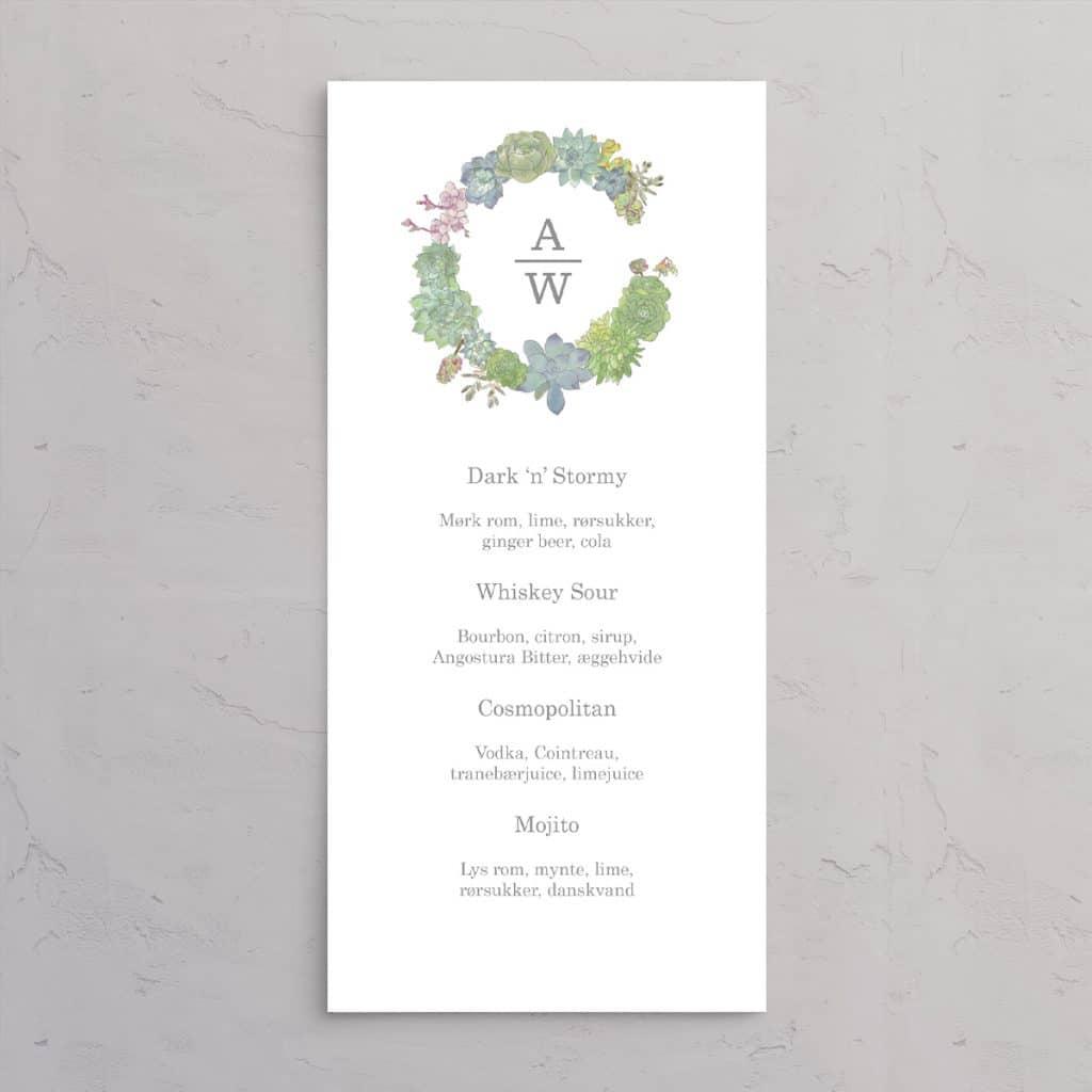 Succulents Wreath Drinkskort med illustration af sukkulenter med brudeparrets monogram