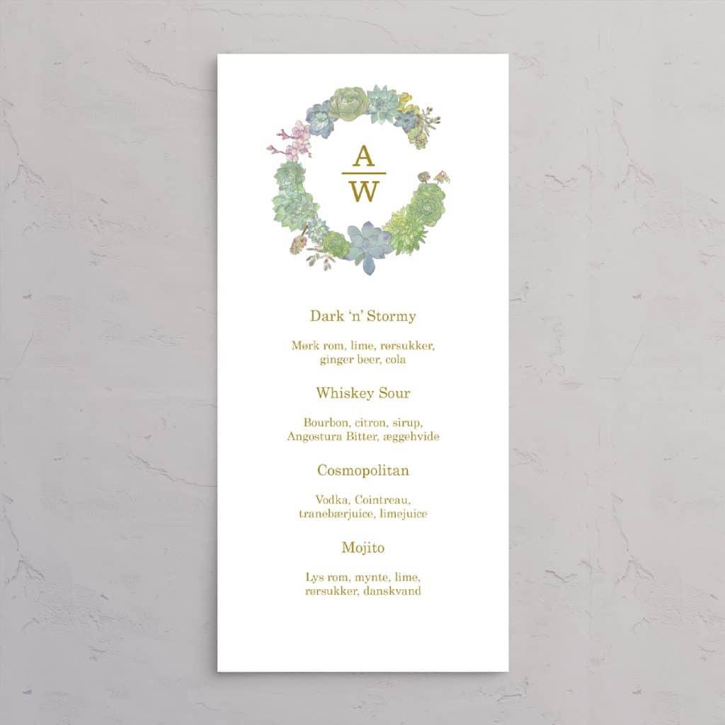 Succulents Wreath Drinkskort med guldfolie, illustration af sukkulenter med brudeparrets monogram