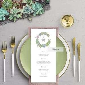 Succulents Wreath Menukort og illustration af sukkulenter med brudeparrets monogram med bordkort i vellum (kalkerpapir)