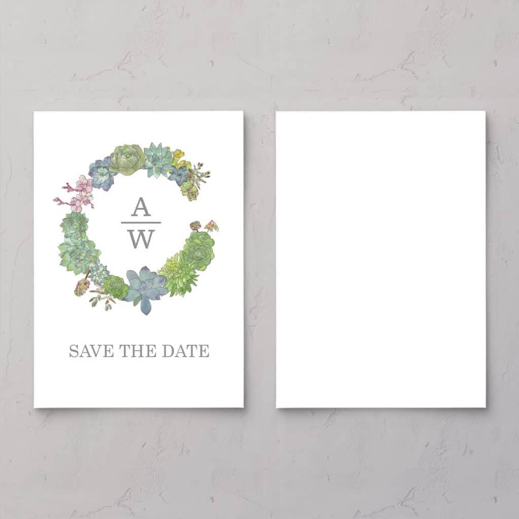 Succulents Wreath Save the date med illustration af sukkulenter med brudeparrets monogram