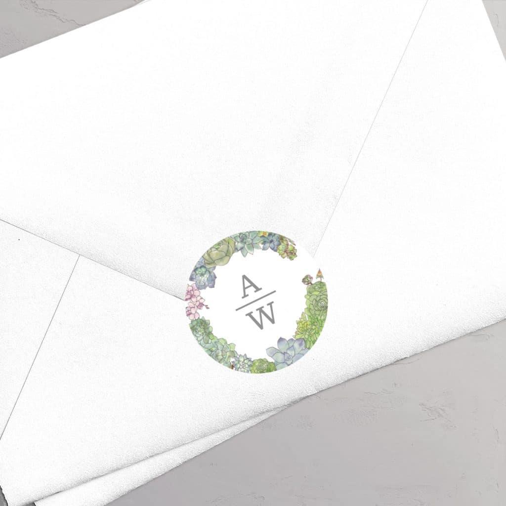 Klistermærke Succulents Wreath Monogram til bryllup