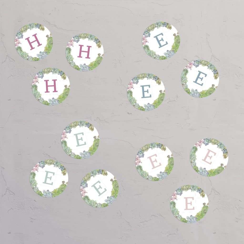 Klistermærke Succulents Wreath til konfirmation / nonfirmation / barnedåb / navngivning med illustration af sukkulenter