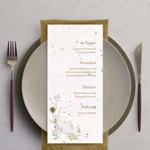 Menukort Wildflower med håndlavet papir med blomsterfrø til bryllupsinvitation