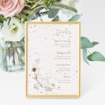 Wildflower Drinkskort til bryllupsinvitation i håndlavet papir med blomsterfrø